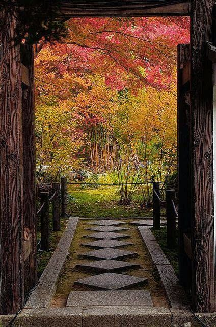 Entrance to the gardens of TenjuanTemple, near Kyoto, Japan
