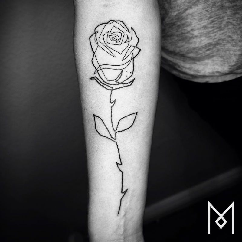 Line Drawing Rose Tattoo : Minimalistic single line tattoos by mo ganji tattoo
