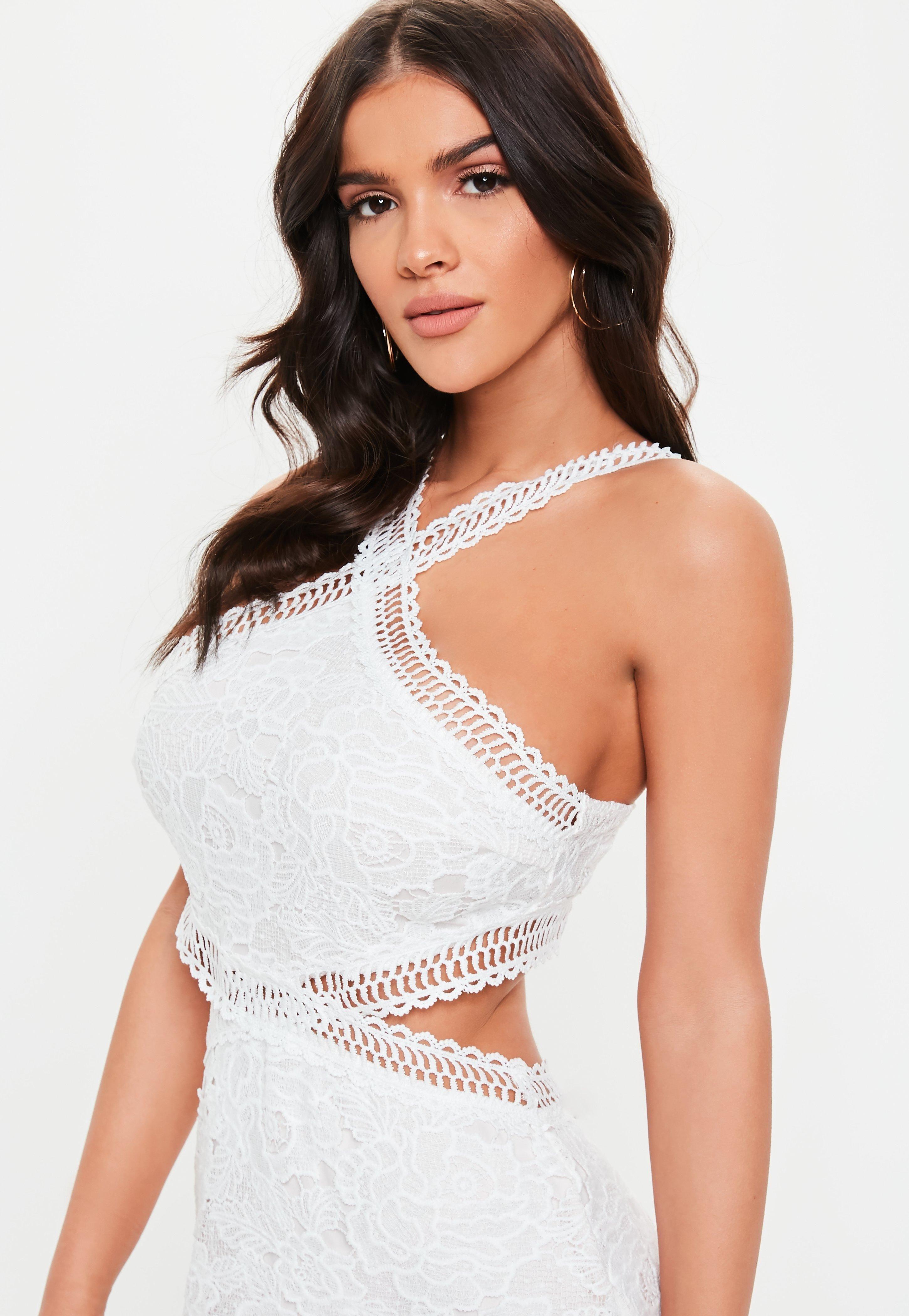 81f10b931793 White Cut Out Lace Trim Frill Hem Mini Dress #Sponsored #Lace, #spon, #Trim,  #White