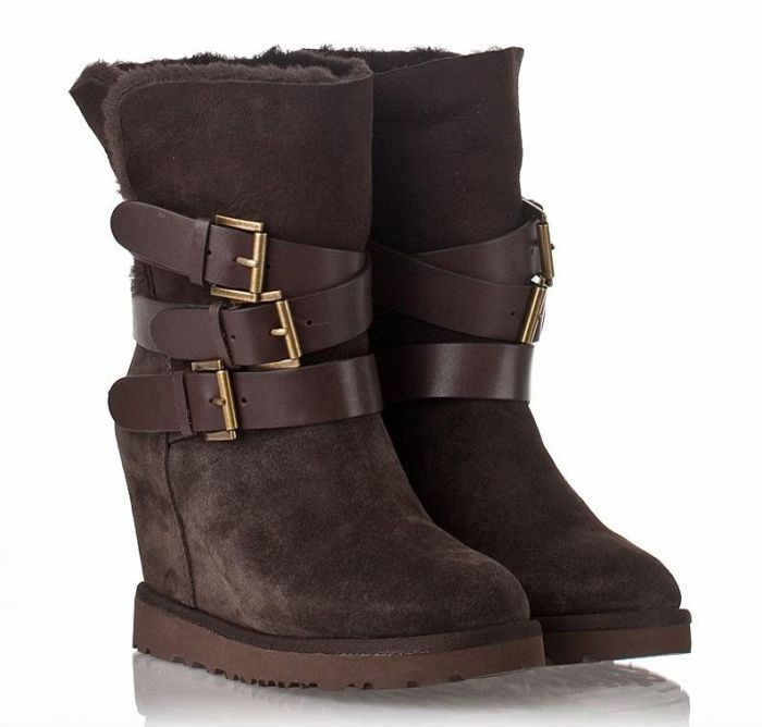0775c5f1ce863b Lesha - suede buckle strap shearling wedge boots   brown -  165.00   Design  your own shoes with the most possibilities