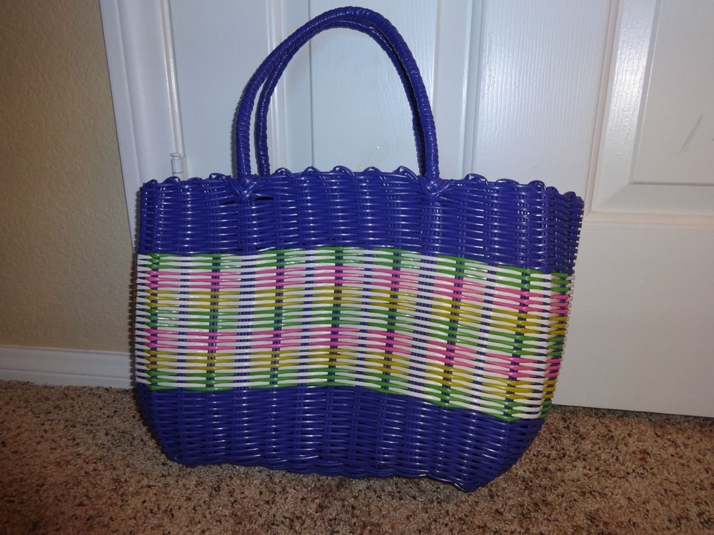 Vintage Purple Woven Large Summer Tote Bag Plastic Vegan Purse #Unbranded #TotesShoppers