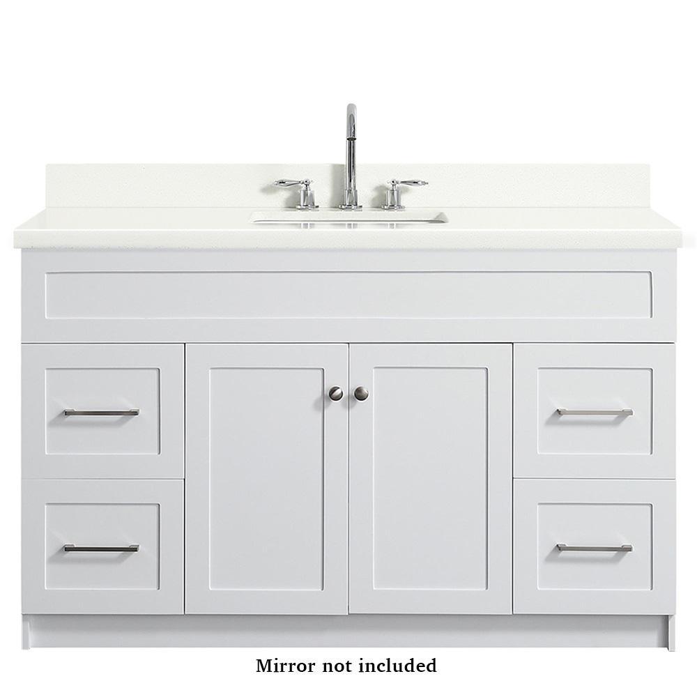 Ariel Hamlet 55 In Bath Vanity In White With Quartz Vanity Top In