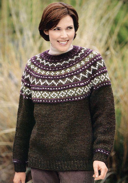 Yoke Sweater Knit in Lion Brand Wool-Ease Chunky - 1196A ...