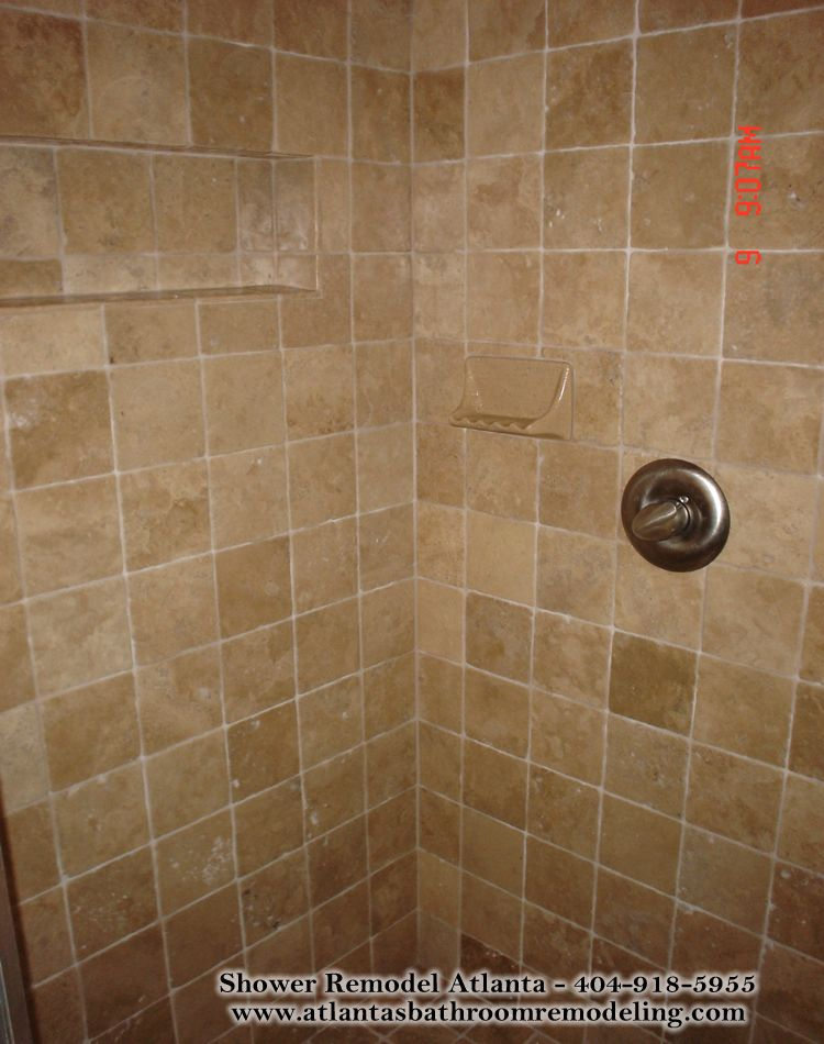 Medium square travertine tile shower not a huge fan for Bathroom travertine tile designs