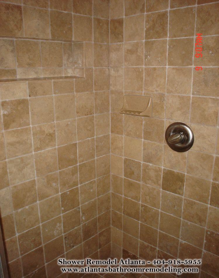 medium square travertine tile shower (not a huge fan) | Master ...