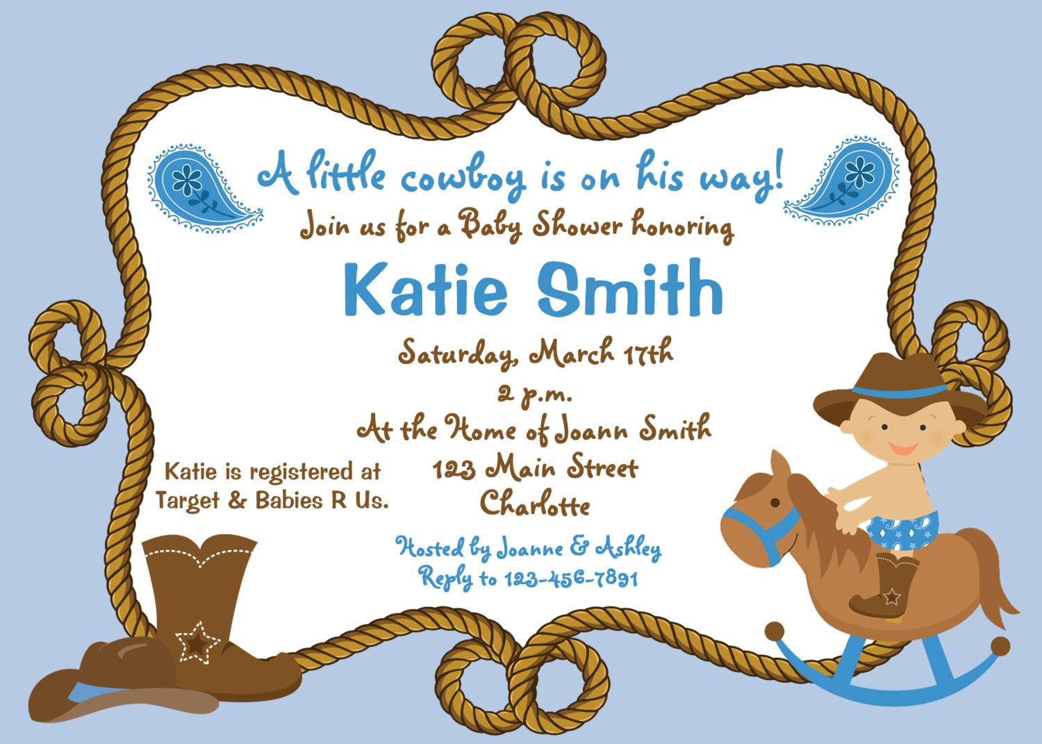 Baby shower invitation - baby cowboy boy shower invitation -- you ...