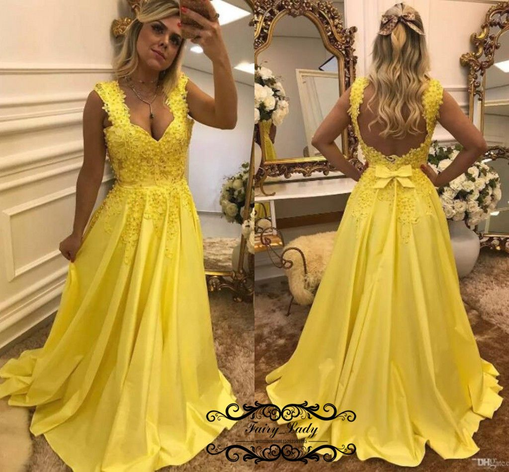 Fabulous beading yellow prom dresses sexy backless appliques