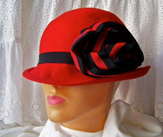 Vintage Red Wool Hat Ladies Hat Red Hat Club Hat by cynthiasattic ... 66fe18dbad9