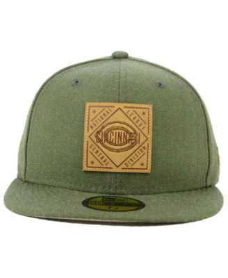 cheap for discount 3f3b6 87558 New Era Cincinnati Reds Leather Patch 59FIFTY-fitted Cap - Green 7 3 4