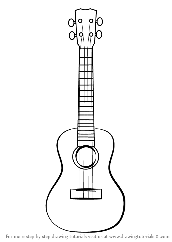 How to Draw a Ukulele step by step, learn drawing by this