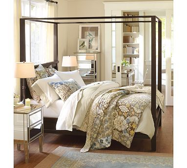 Farmhouse Canopy Bed King Espresso Stain Pottery Barn