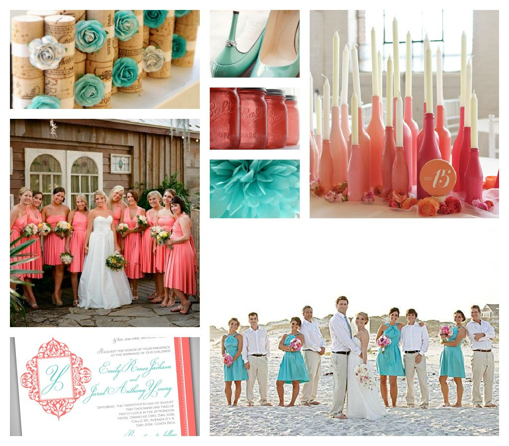Aqua salmon country wedding email this blogthis share for Coral and turquoise wedding ideas