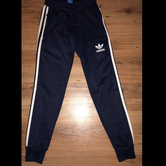 a0b819fa4 Navy blue women's Adidas joggers Uk size 6 In great a stitch - Depop