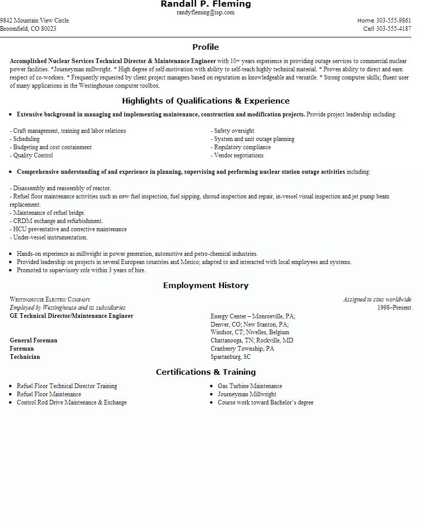 Building Maintenance Engineer Resume Samplecareer Resume Template Career Resume Template Job Resume Samples Sales Resume Examples Sample Resume