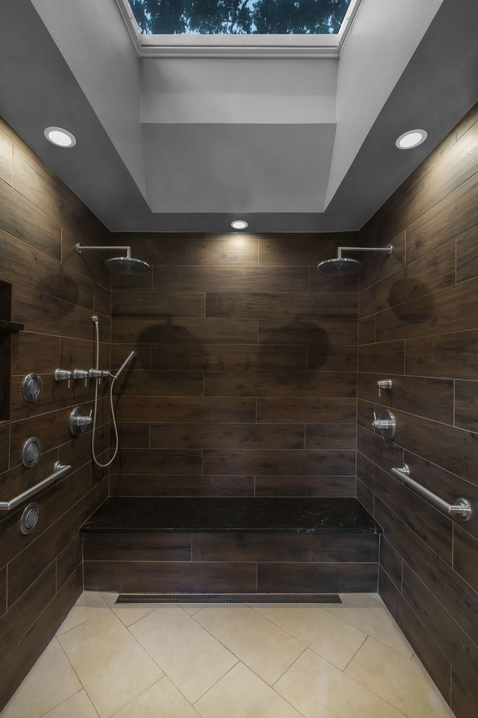 Walk In Shower With Wood Look Tile Double Rain Shower Heads Body