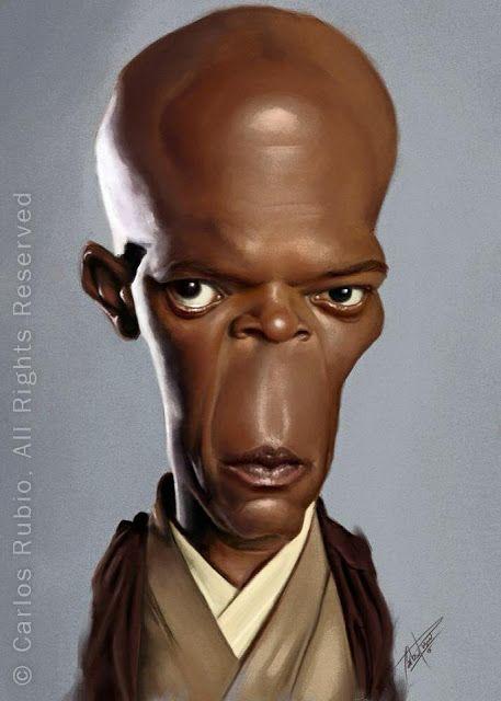 """Caricatura del actor Samuel L. Jackson, en la saga """"Star wars"""", realizada por el artista ..."""