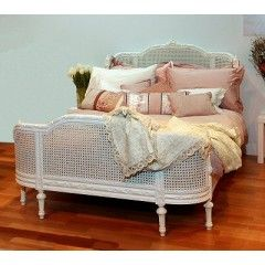 White Rattan Bed With Curved Headboard Footboard Elb001 Wh 160