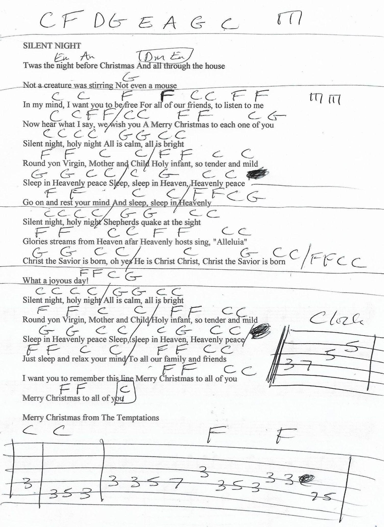 dernière sélection plutôt sympa ordre Silent Night (The Temptations) Guitar Chord Chart | Guitar ...