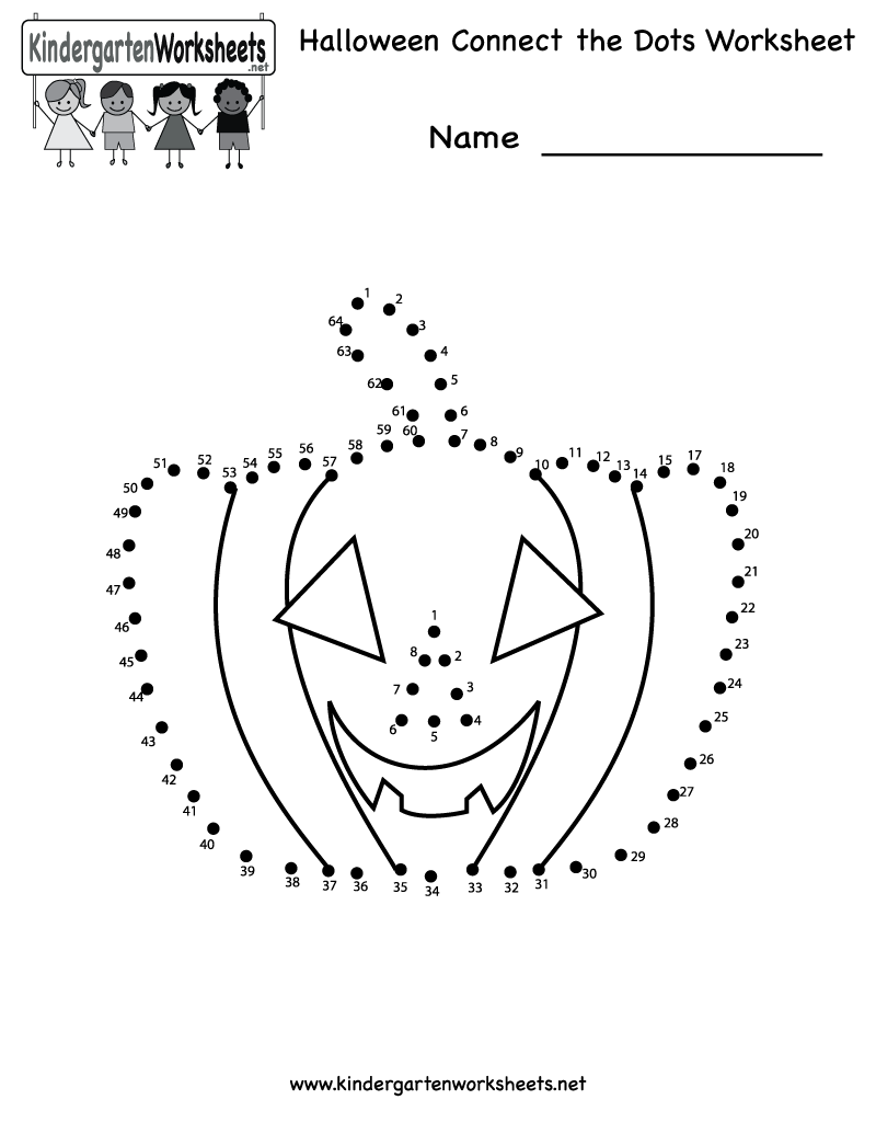 Kindergarten Halloween Connect The Dots Worksheet