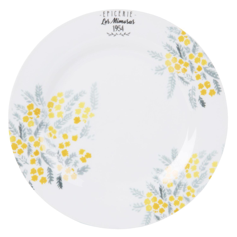 Assiette Plate En Porcelaine Blanche Imprimee Sur Maisons Du Monde Piochez Parmi Nos Meubles Et Objets Deco Et F Porcelaine Blanche Assiettes Plates Assiette