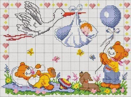 Schemi punto croce per bambini e neonati punto cruz for Idee punto croce neonati
