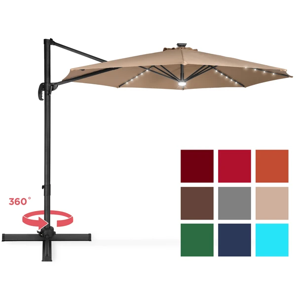 360 Degree Led Cantilever Offset Patio Umbrella W Tilt 10ft In 2020 Offset Patio Umbrella Patio Umbrella Solar Led