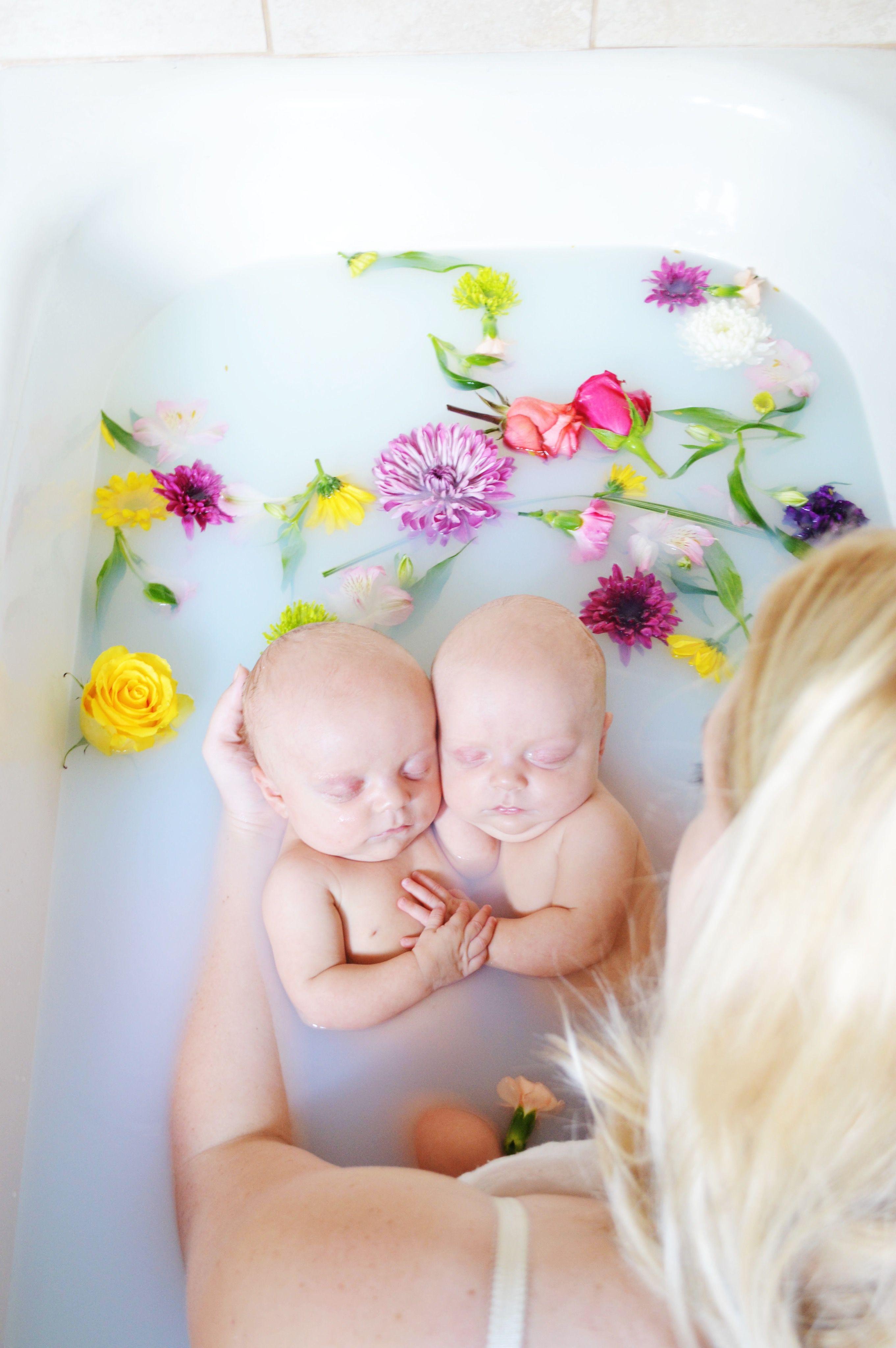 twins, milk bath, flower bath, photography