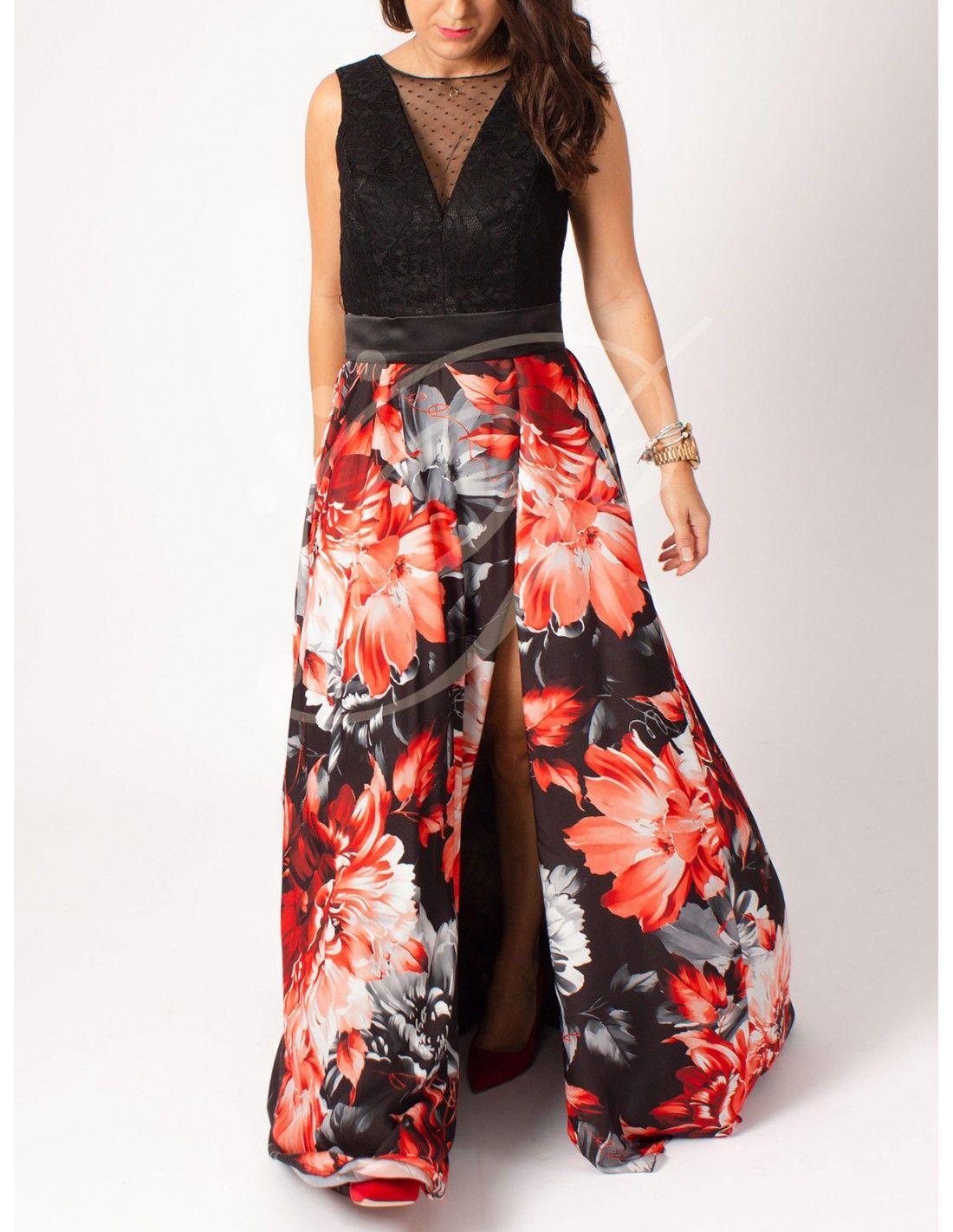 Vestido Boa - Vestido largo con cuerpo color negro de encaje y falda con  fondo negro 87010a0a2b55