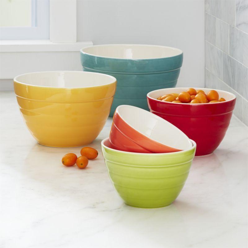 Shop Aqua Baker Nesting Bowls Set Of 5 Portuguese Industrial Designer Carlos Serralha Created These Versatile Nesting Bowls Mixing Bowls Glass Mixing Bowls