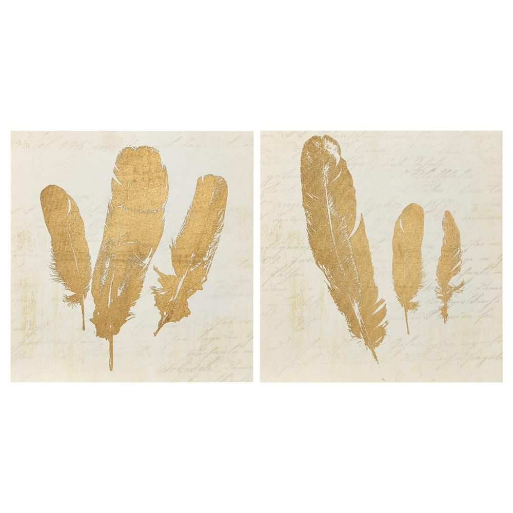 Set of 2 Canvas - Gold Feathers/Canvas + Framed Art/Wall Decor ...
