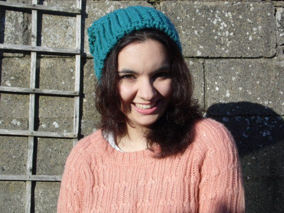 Slouchy Aquamarine Crochet Hat by LaBelleChloe on Etsy, €22.00