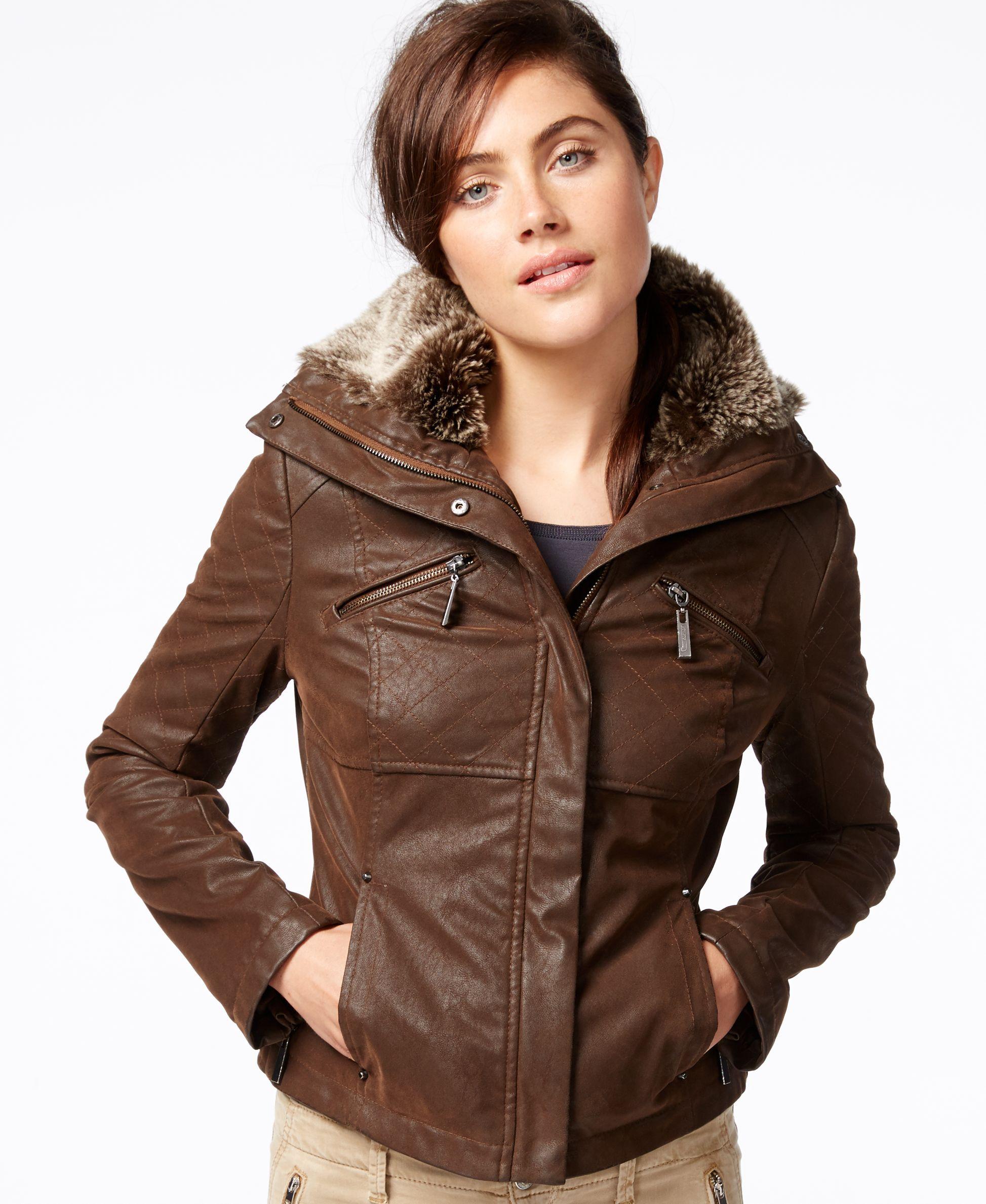Jou Jou Faux Leather Bomber Jacket Coats Women Macy S Faux Leather Bomber Jacket Leather Jacket Style Leather Bomber Jacket