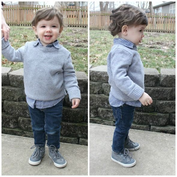5360e701f7732 Cozy winter outfit idea for toddler boy - solid sweater, print button-up,  jeans, and sneakers. Click through for details.