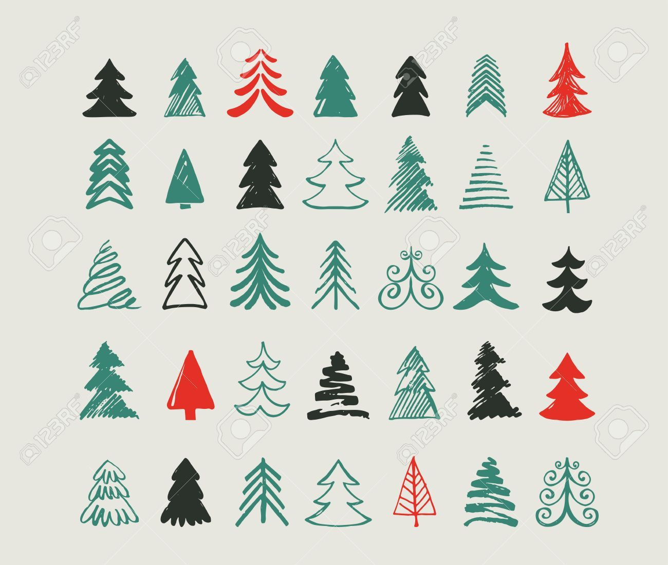 Hand Drawn Christmas Tree Icons Doodles And Sketches Christmas Tree Drawing Tree Drawing Simple Christmas Tree Graphic