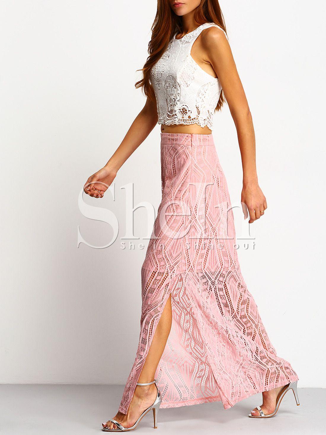Falda hueco encaje con abertura larga-(Sheinside) | Faldas ...