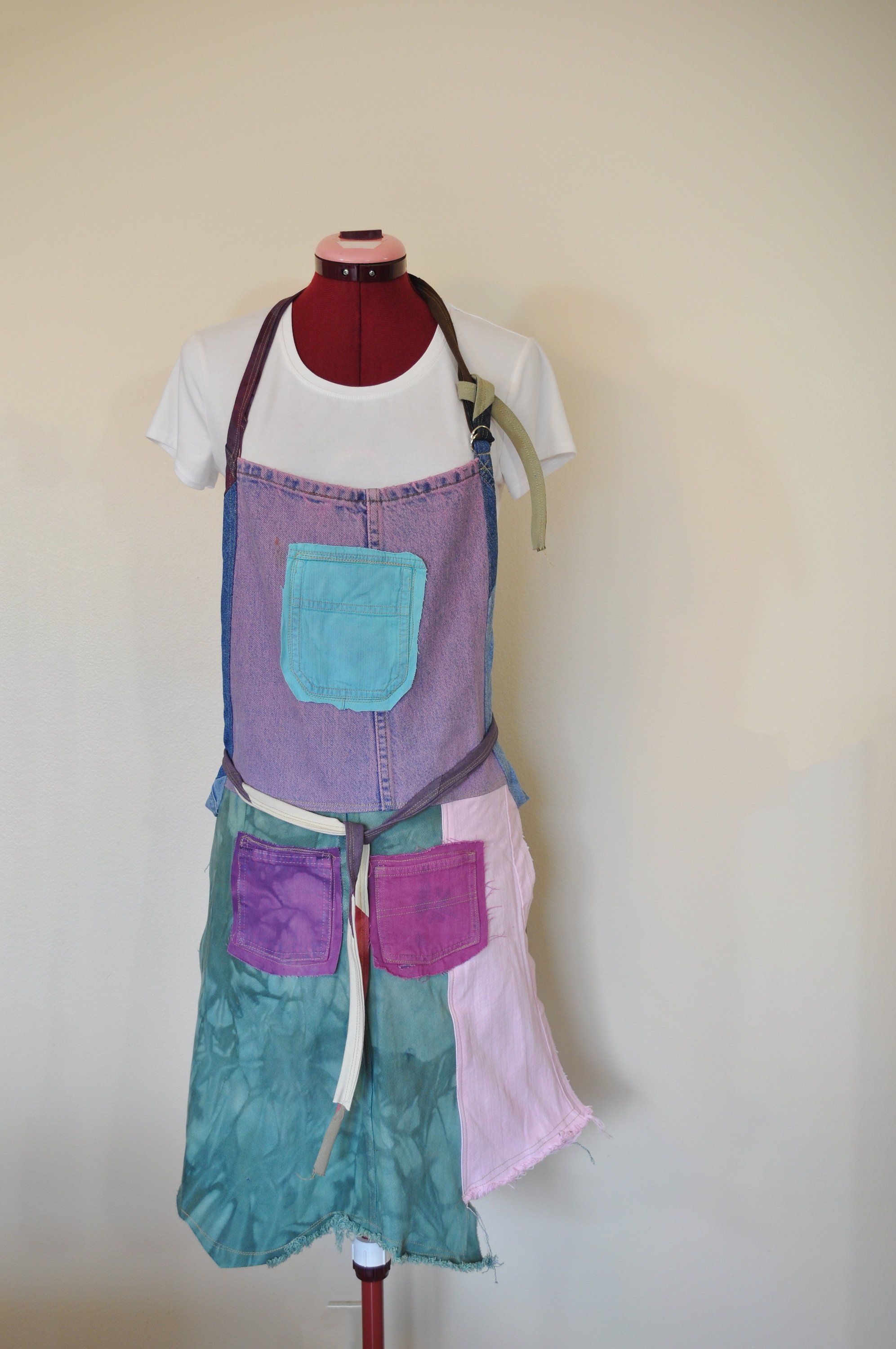 afe45308dfd Dyed Denim Rustic Artists Apron  65 - Green Purple Pink Red Dyed Upcyle  Scrap Denim Fringed Denim - Adult Youth Apron - Sz Small Medium by  DavidsonStudio on ...