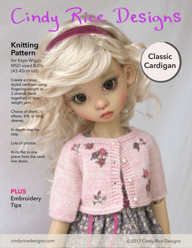 Classic Cardigan Knitting Pattern For Kaye Wiggs Msd Sized Bjds