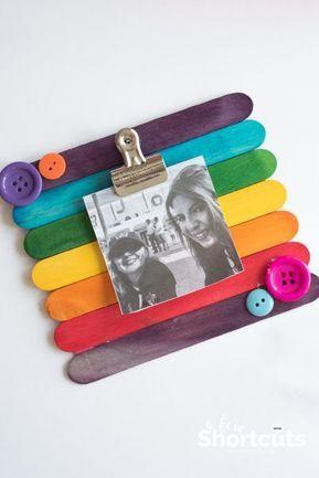 DIY Popsicle Stick Picture Frame - Kids Craft #craft