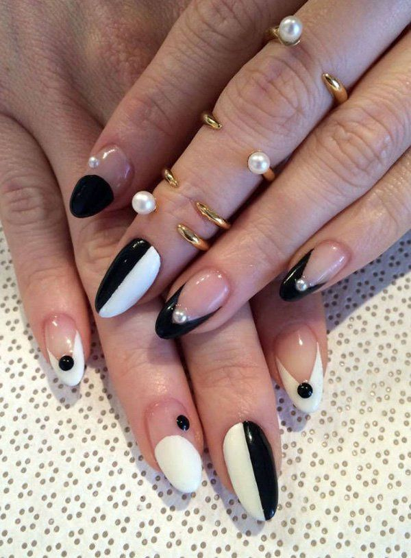 60 Examples Of Black And White Nail Art Dananails Pinterest