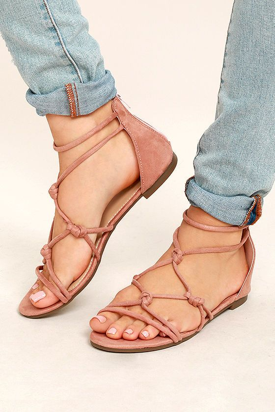 845c225b9990 Rosabel Pink Suede Gladiator Sandals