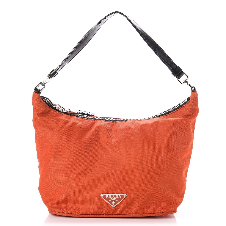 898d72c35725b9 PRADA Tessuto Nylon Small Shoulder Bag Mandarino Nero Black in 2019 ...