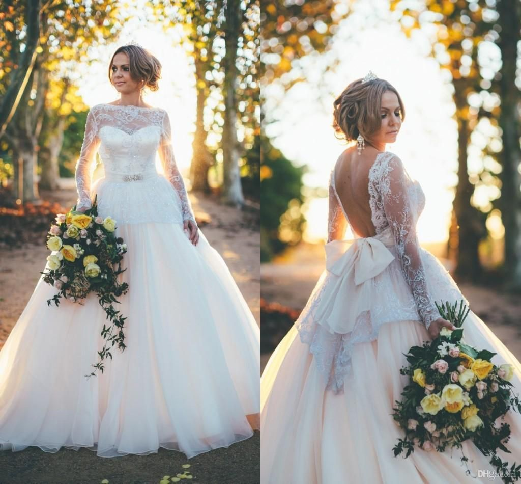 Custom made wedding dress  Sexy Backless Wedding Dress  Ball Gown Long Sleeve Lace Bow