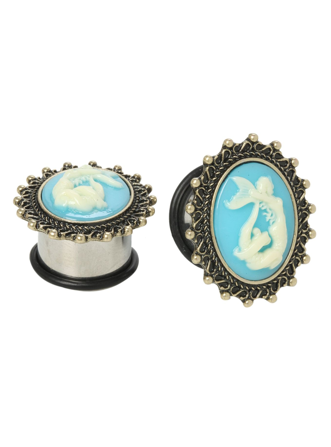 A pair of 316L surgical steel plugs with mermaid cameo centers and a saddle shape.