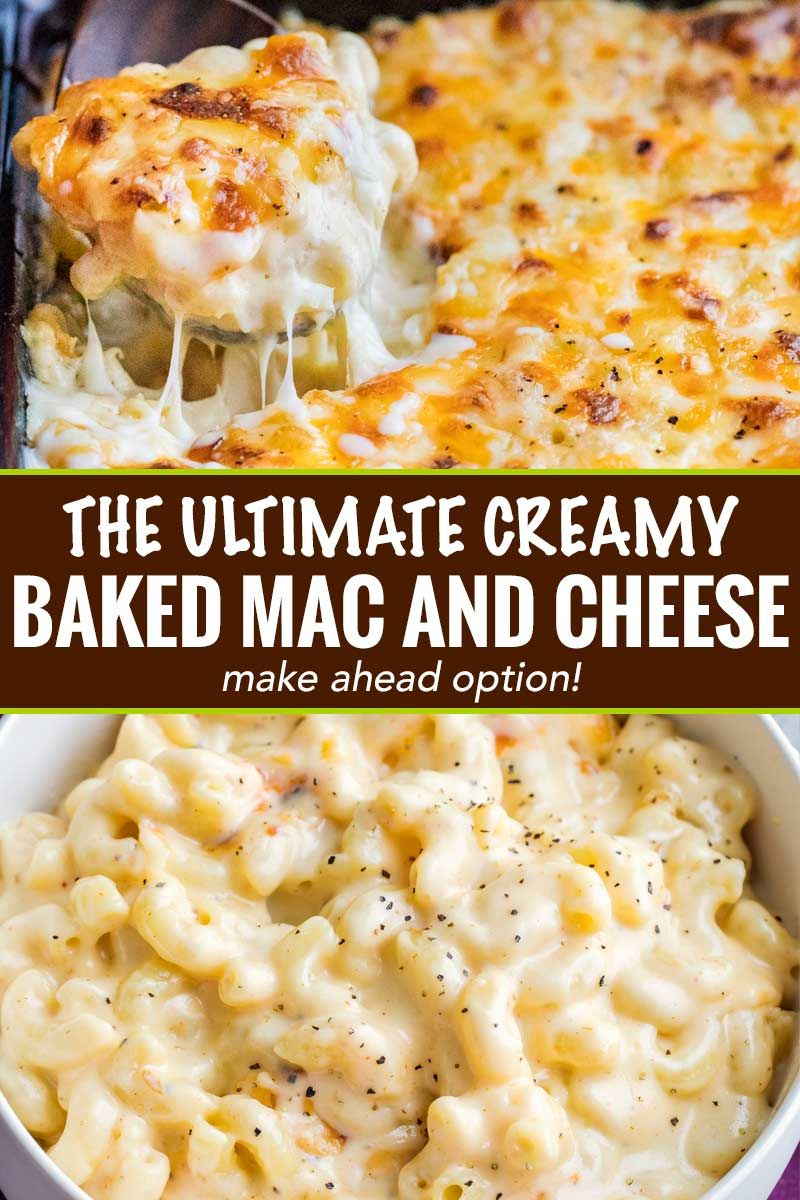 Rich and creamy homemade baked mac and cheese, filled with multiple layers of shredded cheeses, smo