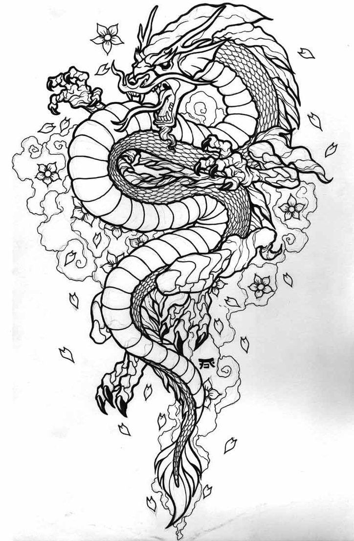Photo of Dragons and Cherry Blossoms Tattoo Design | Angry Black and White Oriantal Dragon …
