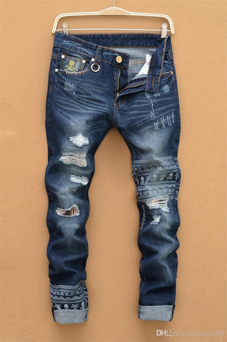 187383dfb7b3 2016 Hole Jeans For Men Classical Streetstyle Skull Print Designer Stylish  Straight Jeans Pants Wholesale 1885 From Jeans1990