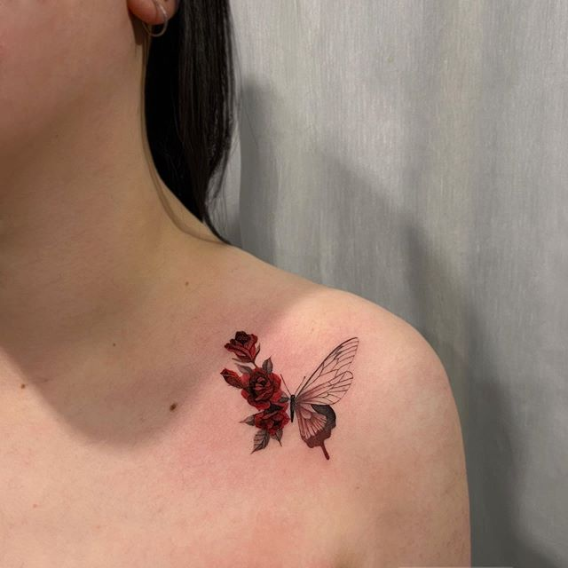 Pretty Butterfly Tattoo Designs And Placement Ideas In 2020 Butterfly Tattoo Designs Butterfly Tattoo Red Ink Tattoos