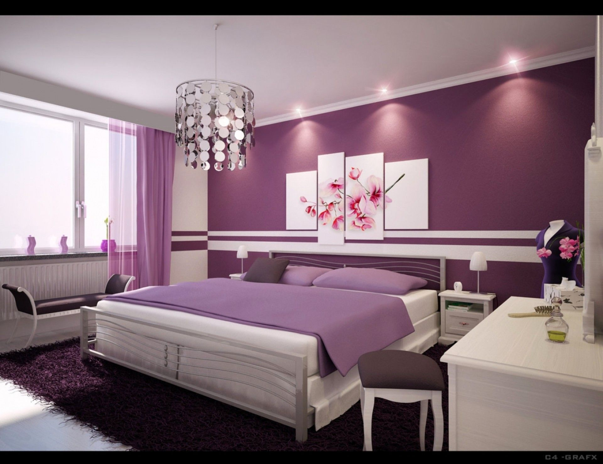 Delightful Purple Bedroom With Sophisticated Clic Dressing Table And Chair Soft Blanket Pillows Pretty Pink Fl Painting