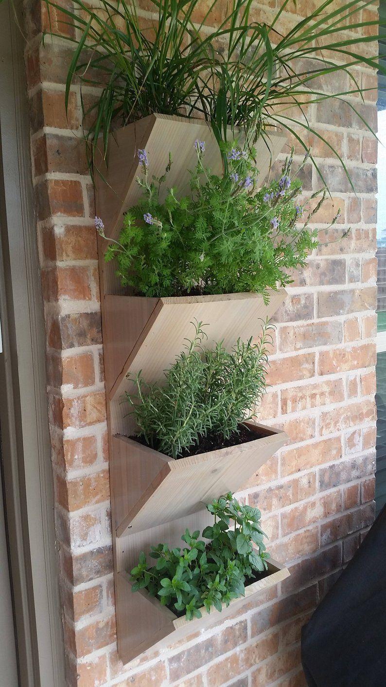 Wand-Pflanzer-Box | Kräuter Garten Pflanzer | 4 Tier vertikale Garten Pflanzer | Große Pflanzer Box im Freien