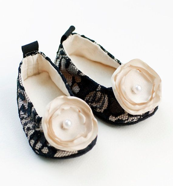 333ee22bb Baby Shoes - Black Lace   Ivory Satin Couture Ballet Flat - Toddler Shoe  sizes too - 14 colors - Baby Souls Baby Shoes via Etsy